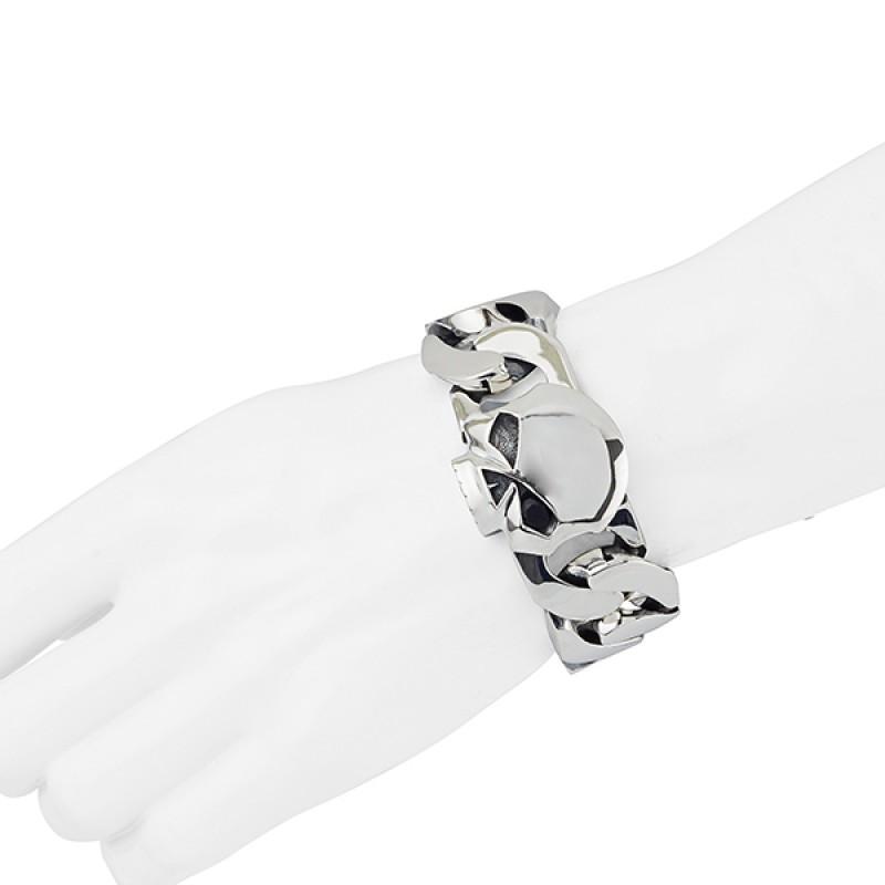Браслет Skull с серебряным покрытием - motodom.com.ua
