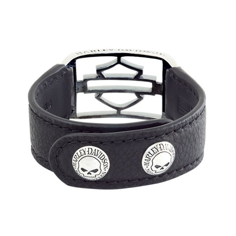 Кожаный браслет с нержавеющей сталью - motodom.com.ua