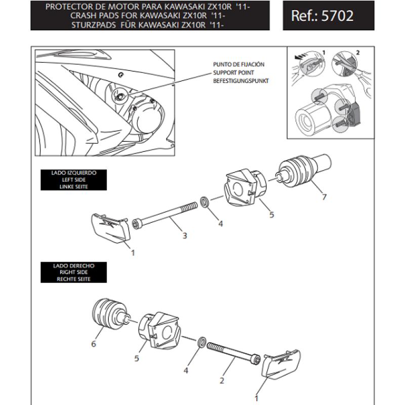 Крашпады Puig R12 Ninja ZX-10R 2011-15 - motodom.com.ua