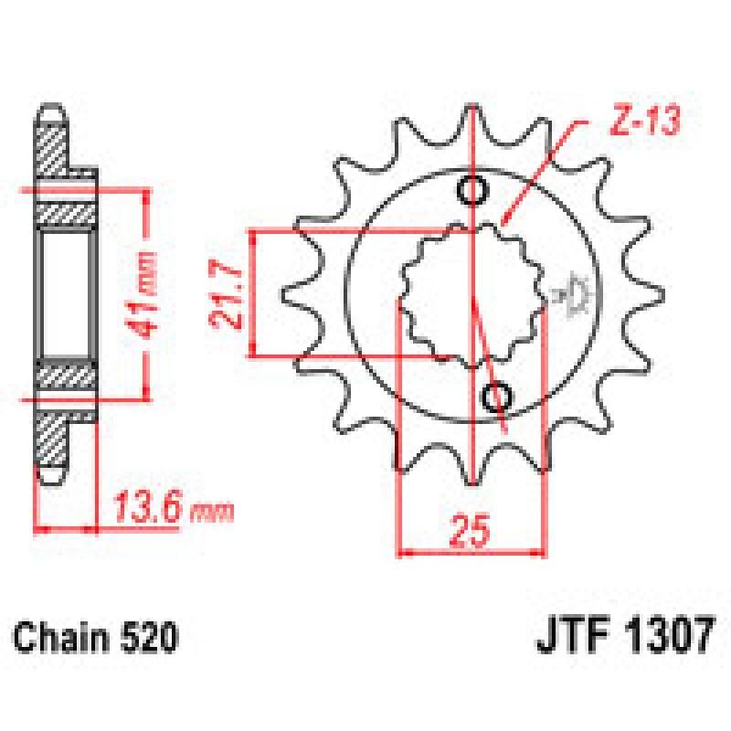 Звезда передняя JT JTF1307.15 Kawasaki ZX-6R 2002-2006 / ZX-6RR 2003-2006 - motodom.com.ua