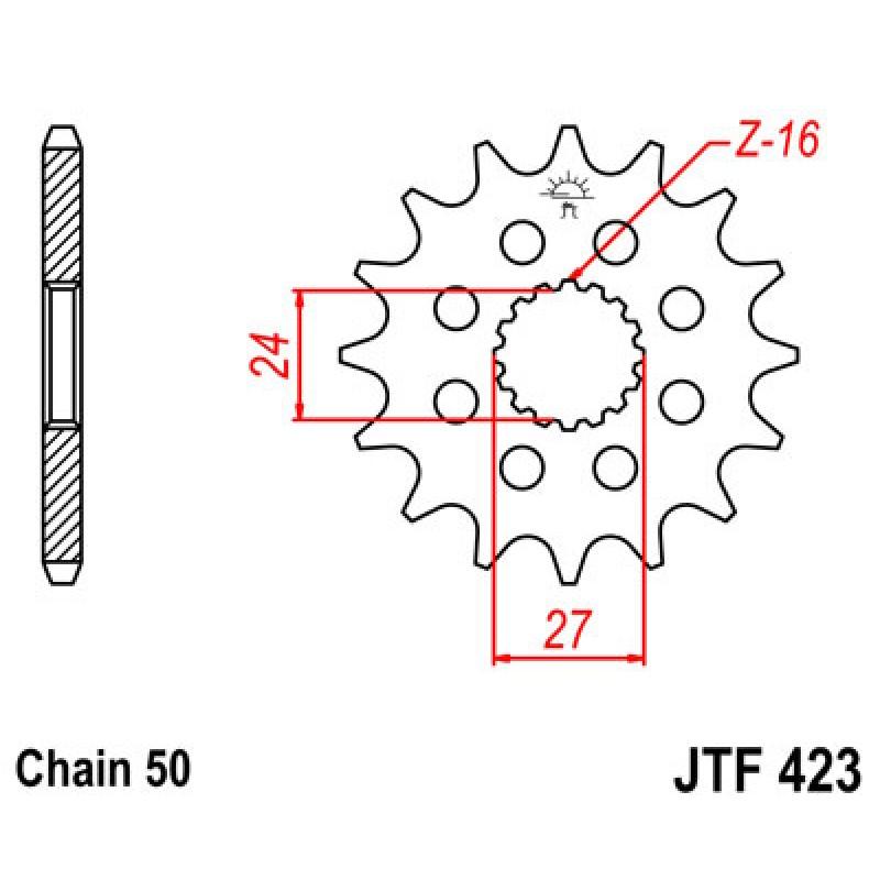 Звезда передняя JT JTF423.18 Suzuki GSX1300 B-King 2008-2012 / GSX1300R Hayabusa - motodom.com.ua