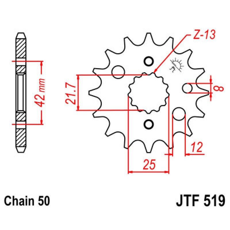 Звезда передняя JT JTF519.17 Kawasaki VN800 1997-2006 - motodom.com.ua