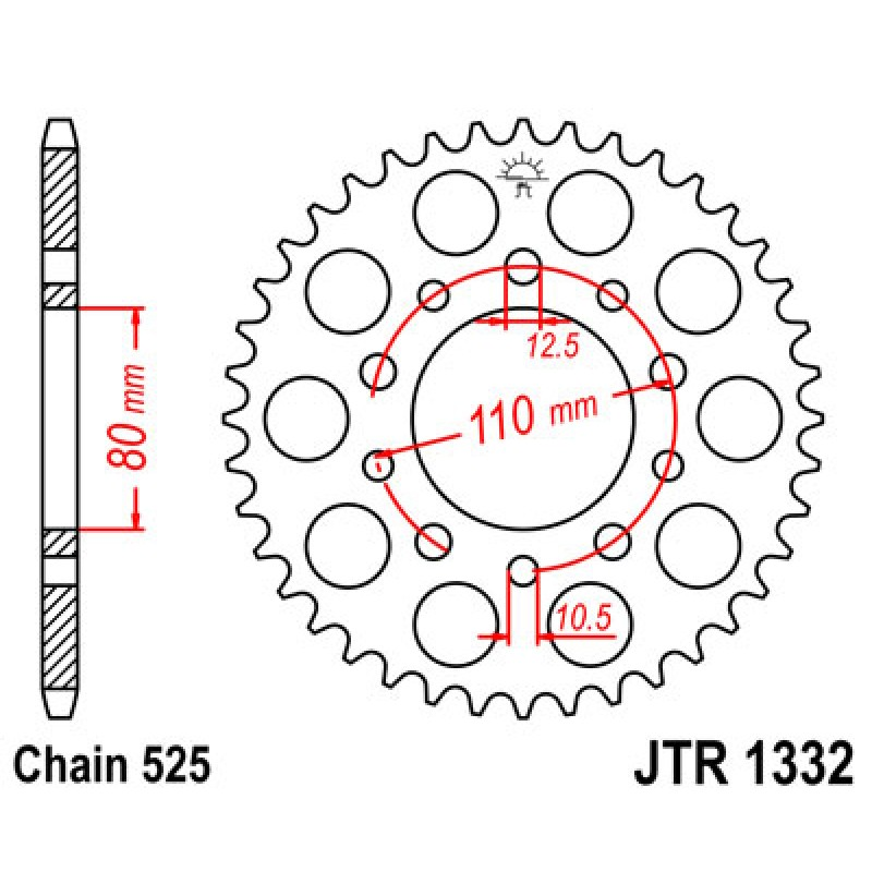 Звезда задняя JT JTR1332.45 Honda XRV750 Africa Twin 1993-2003 - motodom.com.ua