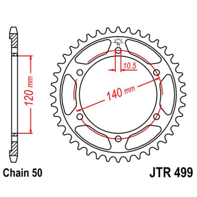 Звезда задняя JT JTR499.39 Suzuki TL1000 1998-02 - motodom.com.ua