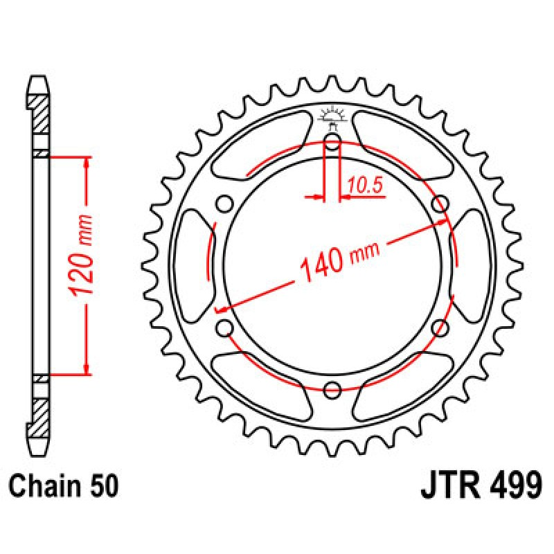 Звезда задняя JT JTR499.48 Kawasaki ZZR600 1993-04 - motodom.com.ua